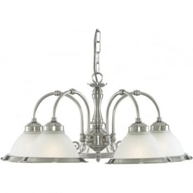 1045-5 American Diner 5 Light Ceiling Light Satin Silver