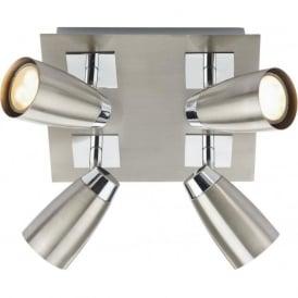 LOF8546 Loft 4 Light Ceiling Spotlight Satin Chrome
