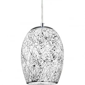 8069WH Crackle 1 Light Ceiling Pendant White Polished Chrome