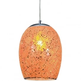 8069OR Crackle 1 Light Ceiling Pendant Polished Chrome