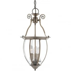 9501-3 Lanterns 3 Light Ceiling Pendant Antique Brass