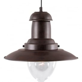 4301RU Fisherman 1 Light Ceiling Pendant Rustic Black