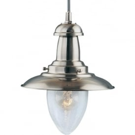 5787SS Fisherman 1 Light Ceiling Pendant Satin Silver