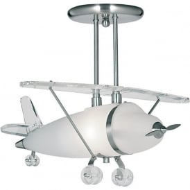 737 Novelty Airplane 1 Light Ceiling Light Satin Silver