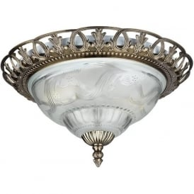 7045-13 Flush 2 Light Flush Ceiling Light Antique Brass