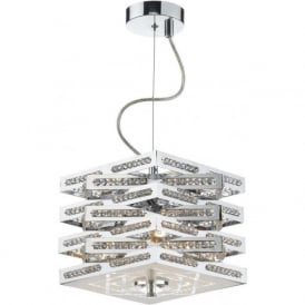 CUB0350 Cube 3 Light Crystal Ceiling Light Polished Chrome