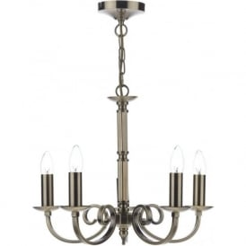 MUR0575 Murray 5 Light Ceiling Light Antique Brass