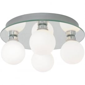 4337-4-LED 4 Light Semi Flush Ceiling Light Polished Chrome IP44