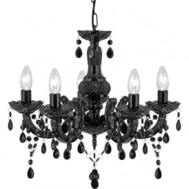 1455-5BK Marie Therese 5 Light Chandelier Black