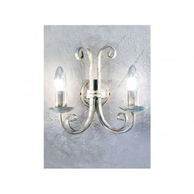 PE7612 Babylon 2 Light Wall Light White Brushed Gold