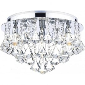 FRI0450 Fringe 4 Light Crystal Semi-Flush Ceiling Light IP44