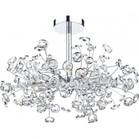 OBE0650 Oberoi 6 Light Semi Flush Ceiling Light Polished Chrome