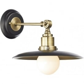 HAN0754 Hannover 1 Light Wall Light Antique Brass/Black