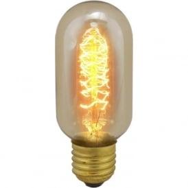 01492 ES/E27 40 Watt Vintage Tubular Squirrel Cage Bulb - Amber