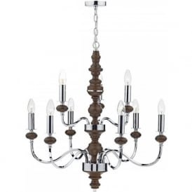 WYA1347 Wyatt 9 Light Ceiling Light Polished Chrome/Dark Wood