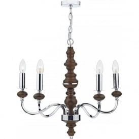 WYA0547 Wyatt 5 Light Ceiling Light Polished Chrome/Dark Wood