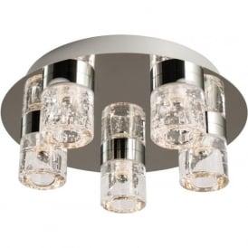 61358 Imperial 5 Light LED Flush Ceilling Light IP44 Polished Chrome