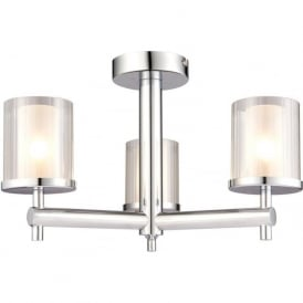 51886 Britton 3 Light Semi Flush Ceiling Light IP44 Chrome