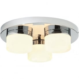 34200 Pure 3 Light Flush Ceilling Light IP44 Polished Chrome