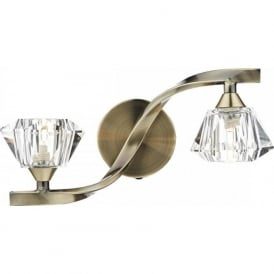 ANC0975 Ancona 2 Light Switched Wall Light Antique Brass