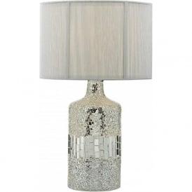 GUR4239 Guru 2 Light Mosaic Table Lamp Silver