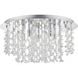SES5350 Sestina 5 Light Crystal Flush Ceiling Light Polished Chrome