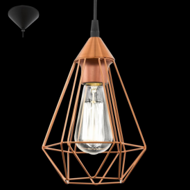 94193 Tarbes 1 Light Ceiling Pendant Copper