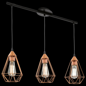 94195 Tarbes 3 Light Ceiling Pendant Copper