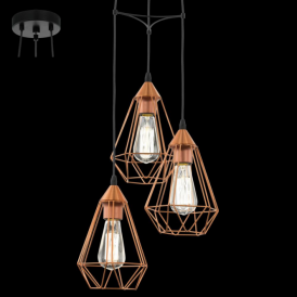 94196 Tarbes 3 Light Ceiling Pendant Copper
