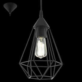 94187 Tarbes 1 Light Ceiling Pendant Black