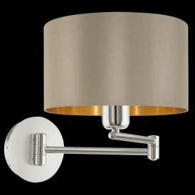 95055 Maserlo 1 Light Switched Wall Light Glossy Taupe