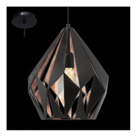 49254 Carlton1 1 Light Ceiling Pendant Black Copper