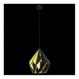 49256 Carlton1 1 Light Ceiling Pendant Black Yellow