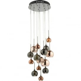 AUR1564 Aurelia 15 Light Ceiling Pendant Black Chrome