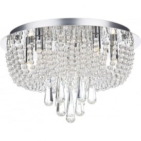 SAI5450 Saigon 5 Light Semi-Flush Crystal Ceiling Light Polished Chrome