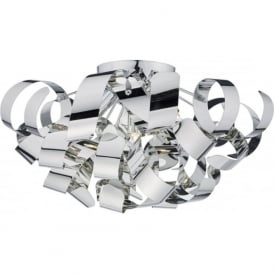 RAW0555 Rawley 5 Light Flush Ceiling Light Polished Chrome
