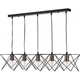 MID0522 Midi 5 Light Bar Pendant Black and Copper