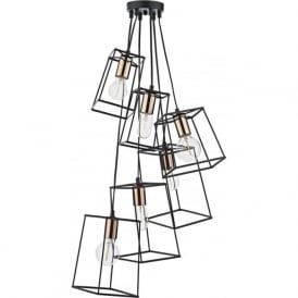TOW0622 Tower 6 Light Cluster Pendant Black and Copper
