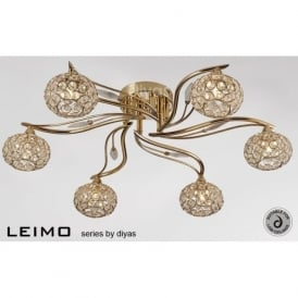IL30966 Leimo 6 Light Ceiling Light French Gold