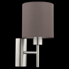 94927 Pasteri 1 Light Switched Wall Light Anthracite/Brown