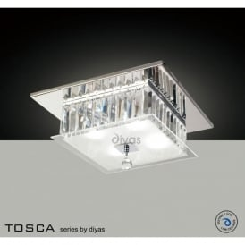 IL30245 Tosca 4 light Flush Crystal Ceiling Light Polished Chrome