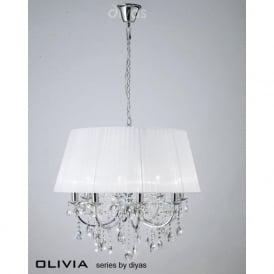 IL30056/WH Olivia 8 Light Crystal Ceiling Light Polished Chrome
