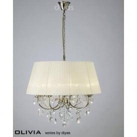 IL30057/CR Olivia 8 Light Crystal Ceiling Light Antique Brass