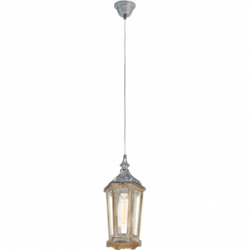 49206 Kinghorn 1 Light Ceiling Pendant Wood/Silver