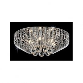 Impex CFH508052/06/PL/CH Carlo 6 Light Flush Crystal Ceiling Light Polished Chrome