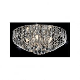 Impex CFH508052/07/PL/CH Carlo 7 Light Flush Crystal Ceiling Light Polished Chrome