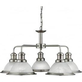 1595-5SS Bistro 5 Light Ceiling Pendant Light Satin Silver