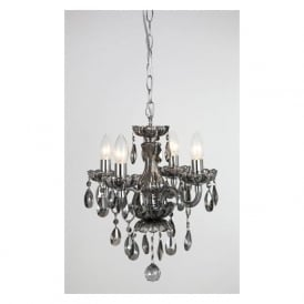 CF211093/04/SMK Rodeo 4 Light Crystal Chandelier Smoked Glass