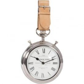 75-140 Leather Watch Strap Wall Clock Nickel