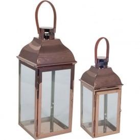 70-420 Set of 2 Copper Metal/Glass Lanterns